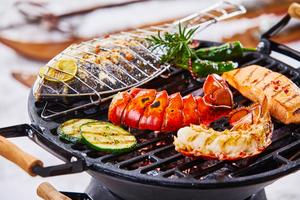 barbecue with seafood grilling